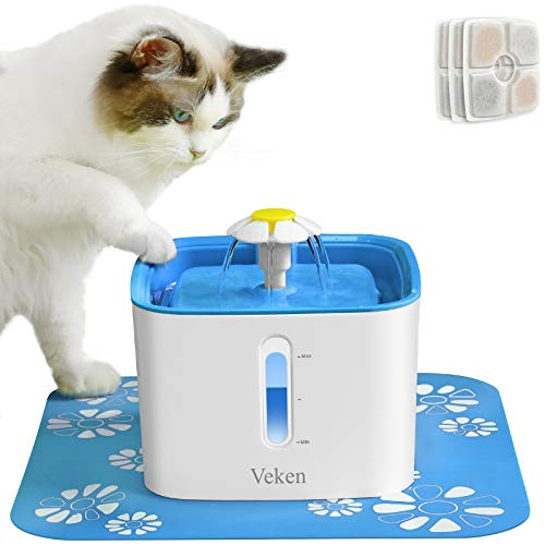 Veken Cat Water Fountain, 2.5L Automatic Pet Water Fountain, Dog Water Dispenser with 3 Replacement Filters and 1 Silicone Mat for Cats and Small to Medium Dogs