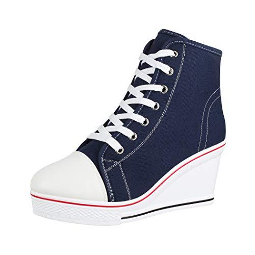 Elara Zapatilla de Deporte Tacón de cuña Unisex Sneaker High Top Chunkyrayan B6986-SP Blue-38