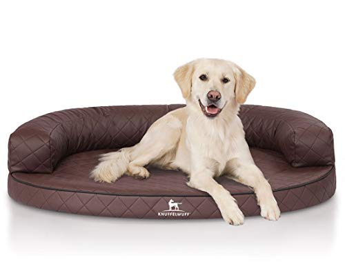Knuffelwuff orthopädisches Hundebett Hanna aus Kunstleder Hundekorb Hundesofa Hundekissen Hundekörbchen orthopädisch waschbar grosse Hunde Braun XXXL 130 x 100cm