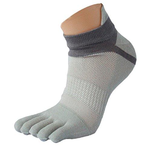 Tefamore 1Paio Uomo Calze, Mesh Meias Sport Running Cinque Dita Toe Socks, Grigio