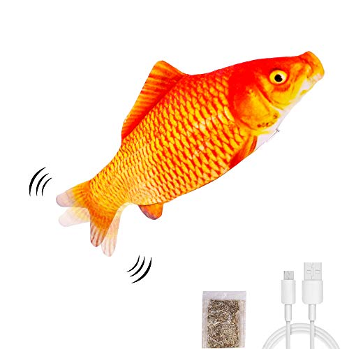 UPSKY Electric Moving Fish Cat Toy, Realistic Plush Simulation Electric Wagging Fish Cat Toy Catnip Kicker Toys, Funny Interactive Pets Pillow Chew Bite Kick Supplies for Cat Kitten Kitty.