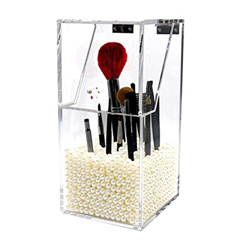 Pansupply luxuary Brush cosmetic acrylic organizer clamshell brush box with pearls