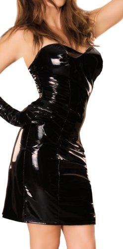 Ledapol 1492-LE Lack Kleid mit Schlitz, 38 schwarz
