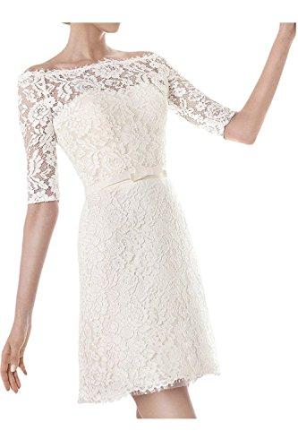 JAEDEN Brautkleid Hochzeitskleider Kurz Damen Abendkleider Spitze Kurzarm Etuikleider Weiß EUR42