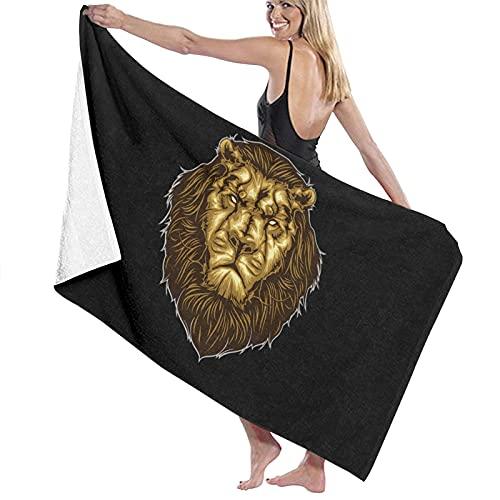 Lion Head Toalla de playa de microfibra, para hombres y mujeres, de secado rápido, de gran tamaño, para piscina, baño, viajes, deportes, hotel (52 x 32 pulgadas)