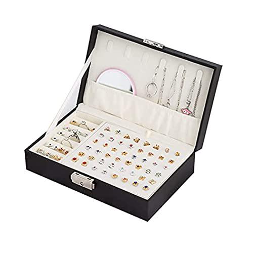 ASDF Jewelry Organizer Caja Organizador Estuche Joyero Organizador Joyas 2 Niveles Joyero PU para Anillos Pendientes Collares,A