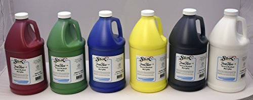 Sax True Flow Heavy Body Acrylic Paint 1/2 Gallon Assorted Colors Set of 6  439307