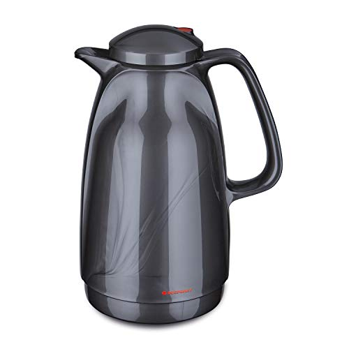 ROTPUNKT Isolierkanne 227 BELLA, 1,5 l titan, Glaseinsatz, BPA-frei, lange Isolierung