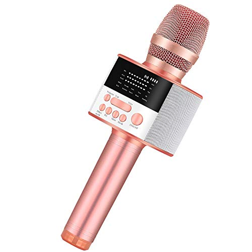 BONAOK Upgraded Portable Bluetooth Karaoke Microphone with LED Screen, Wireless Handheld Singing Machine Speaker for Indoor/Outdoor/Party/Classroom/Presentation/All Smartphones/TV(D10 Rose Gold)