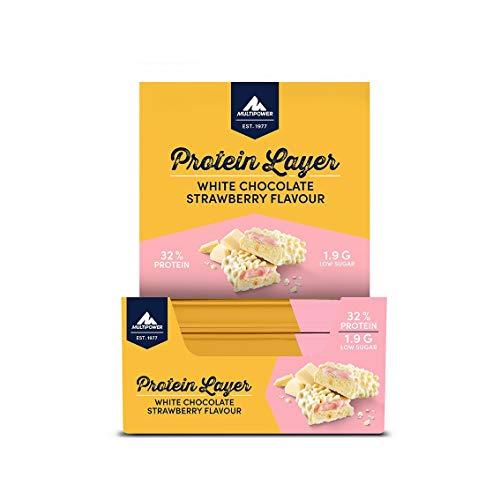 Multipower Protein Layer Eiweißriegel – 18 x 50 g Protein Riegel Box – kalorienarmer Energieriegel – White Chocolate Strawberry