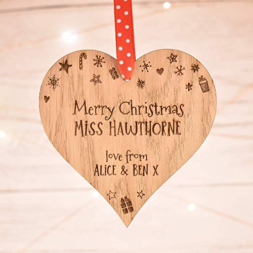 Personalised Teacher Gift   Christmas Decoration Bauble Ornament for Teachers   Xmas Gifts for Nursery