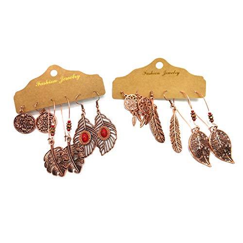 Pendientes Largos Estilo Vintage Bohemio 6 Pares, Colgantes Boho con Piedras Turquesa, Atrapasueños, Accesorios alternativos, Pendientes artesania india (Indian Leafs)