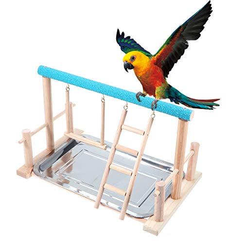 POPETPOP- Holz Papagei Spielen Stand Haustier Vogel Spielplatz Stand Vogel Schaukel Barsch Leitern Papagei Spielen Turnhalle Tischplatte