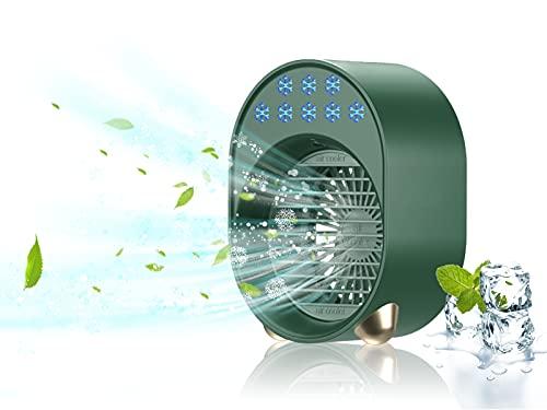 Aire Acondicionado Portatil Movil Silencioso, Mini Enfriador De Aire Usb,Ventilador Congelador Nebulizador, Evaporativo Bajo Consumo Whirlpool, Usado Para Personal, Camp, Exterior, Coche (verd