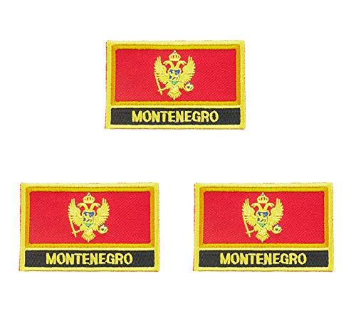 3 Stück Montenegro bestickte Flaggen-Emblem-Applikation zum Aufbügeln oder Aufnähen.