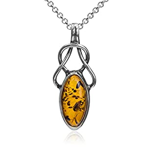 Light Amber Sterling Silver Celtic Pendant Necklace Chain 18""