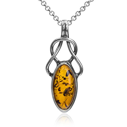 Ian and Valeri Co. Light Amber Sterling Silver Celtic Pendant Necklace Chain 18'