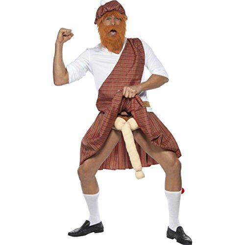 NET TOYS Costume Humoristique écossais avec Zizi - Costume d'homme - Kilt - Jupe - Jupe écossaise d'homme - montagnard - écossais - Taille M 48-50