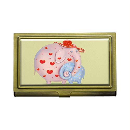 Tarjetero para tarjetas de visita con diseño de elefantes de madre y bebé, de metal y bronce, de acero inoxidable, para tarjetas de visita, tarjetas de crédito, tarjetas de identificación, organizador