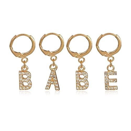 ZLHZYP arete, 4 piezas simples de cristal de color dorado con letras BABE, aros, joyería para mujeres, Bohemia, círculo, colgante, pendiente, aleación, joyería de moda para el oído, oro BABE