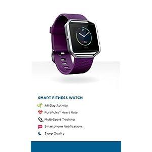 Fitbit Blaze Smart Fitness Watch, Plum, Silver, Large (6.7 - 8.1 inch) (US Version)