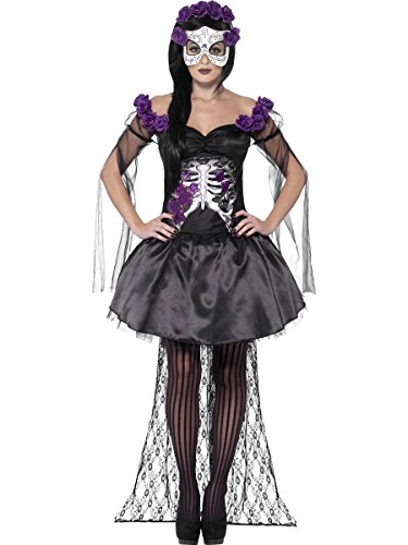 Smiffys Costume Senorita jour des morts, avec jupe, haut, bandeau roseet masque en latex