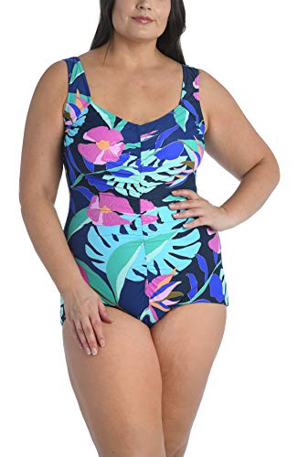 Maxine Of Hollywood Women's Plus Size Shirred Front Girl Leg One Piece Swimsuit, Navy//Jungle Oasis, 18W