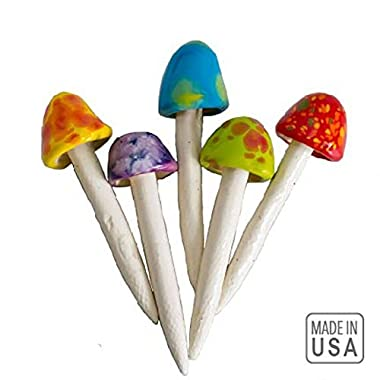 Mushroom Ceramic Fairy Garden Stakes - 5 Handmade Outdoor Ornament Decorations -Made In USA - Decor Toadstools for Lawns, Planters, Gardens, Yards