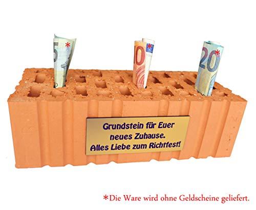 Stein Grundstein für Euer neues Zuhause. Alles Liebe zum Richtfest ziegelstein Richtfest Einweihungsgeschenk Richtfest Geschenk idee