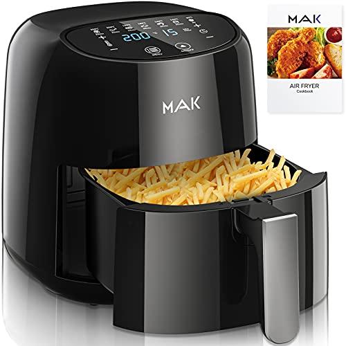 MAK Friggitrice ad aria calda XXL 4,5 L Air Fryer con touch screen a LED, 7 programmi, 1300 W multifunzione, ad aria calda, friggitrice ad aria calda, senza grasso e olio con ricettario (130 A)