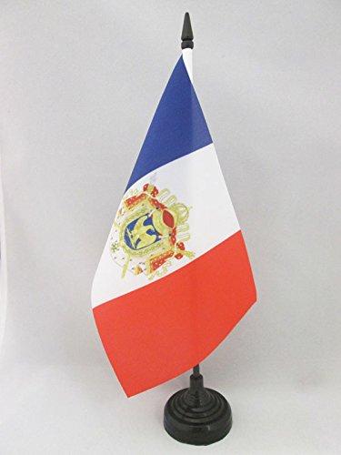 AZ FLAG Napoleon First French Empire Table Flag 5'' x 8'' - Napoleonic Empire of France Desk Flag 21 x 14 cm - Black Plastic Stick and Base