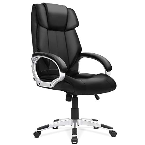 Executive Office Chair,INTERGREAT High Back Ergonomic Chair with Lumbar Support, PU Leather Computer Chair with Thick Padding, Rolling Swivel Desk Chair (Black)
