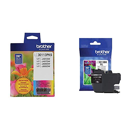 Brother Genuine LC30113PKS 3-Pack Standard Yield Color Ink Cartridges, Up to 200 Pages Cyan, Magenta and Yellow & Printer High Yield Ink Cartridge Page Up to 400 Pages Black (LC3013BK), Standard