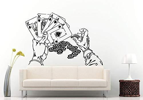 zhuziji Wandtattoos Songspoker Game Eine Reihe von Poker mit Händen Chips Glücksspiel Cool S Home Poker Spiele Wallnordic Schlafzimmer Decorationvinylpvc63x69cm