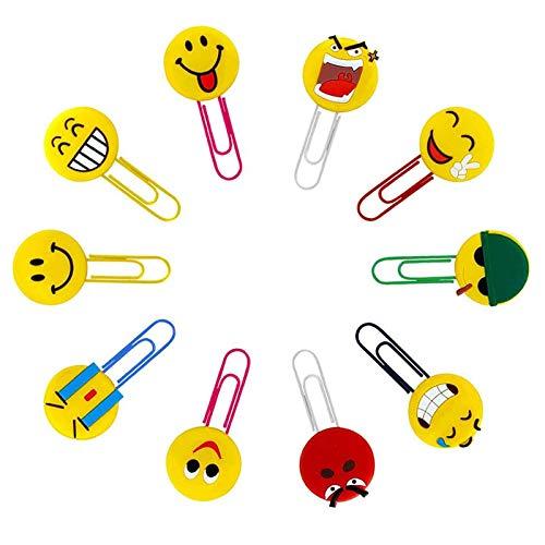 10 Pezzi Simpatici Segnalibro Emoji, Novità Segnalibro Graffetta, novità Emoticon segnalibri Divertenti Segnalibro graffetta Creativi Segnalibri per Bambini, Ragazze, Ragazzi, Studenti Scolastici