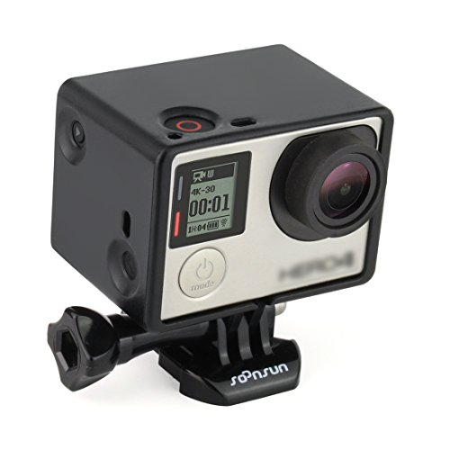 SOONSUN Frame Mount Extension for GoPro Hero 4 3+ 3 with Screen / Battery Extension - Use with LCD BacPac or Battery Extension - Includes Quick Release Buckle and Thumb Screw