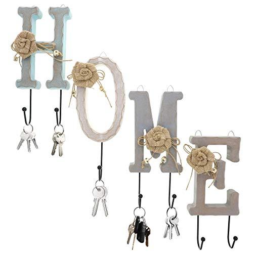 """Letras de Madera """"HOME"""" para la Pared con 7 ganchos de acero inoxidable"""