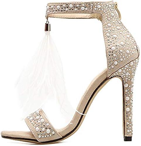 BMYJ Femmes Sandales Pompes Pompes Strass Fermeture éclair Feather à Talons Hauts Abricot Femmes Mariage Pompes Chaussures  meilleurs prix et styles les plus frais