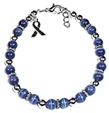 Cancer Awareness Bracelet, for Showing Support or Fundraising Campaign, Adult Size with Extension, 6mm Cat's Eye Beads. Comes Packaged. (Stomach Cancer - Periwinkle)