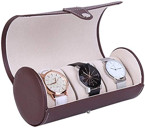 ZouYongKang Caja de Rollo de Reloj de 3 Relojes de Piel de Cuero 3, Material de Cuero, Organizador de Almacenamiento de Pulsera, Caja de visualización de Reloj de Almacenamiento portátil