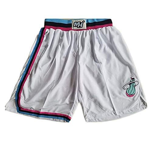 SHIR Hombres Pantalones Corto de Baloncesto NBA Miami Heat Alta Elasticidad Deportivo Pantalones Transpirables y Portátiles de Baloncesto Pantalones Cortos de Entrenamiento