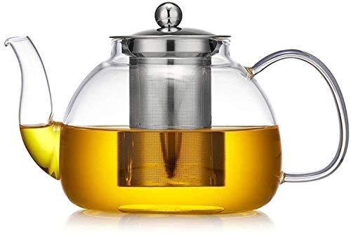 Taza de flores engrosadas de vidrio conjunto de té de cristal en vidrio resistente al calor gran capacidad de acero inoxidable tetera de té de vidrio resistente al calor ( Size : 1200ml Single Pot )