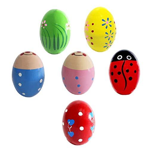 CHENSTAR Juego de 6 piezas de madera para huevos de Pascua de Maracas, juego de regalo de primavera, lindo patrón de música de percusión, relleno de cesta, 2.7 pulgadas x 1.8 pulgadas