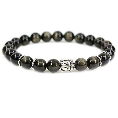 Golden Obsidian Crystal 8mm Round Beads with Silvery-Plated Alloy Buddha Head Hollow Petals Spacer Retro Stretch Bracelet 7 Inch