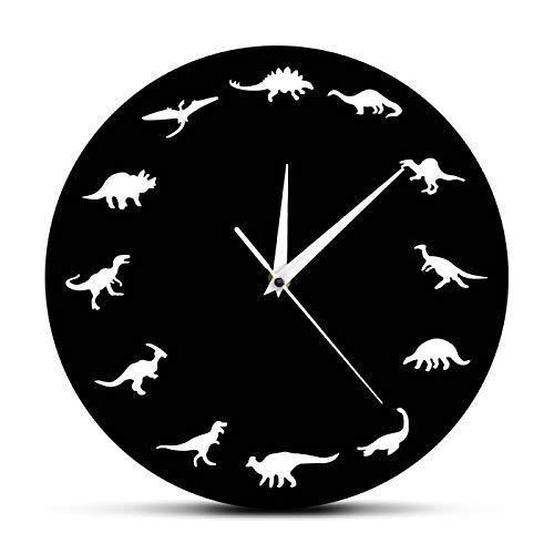 yage Reloj de Pared con Silueta de Varios Dinosaurios, decoración de habitación para niños, Reloj de Dinosaurio, Reloj de Cuarzo con Movimiento silencioso Moderno, icónico Reloj acrílico