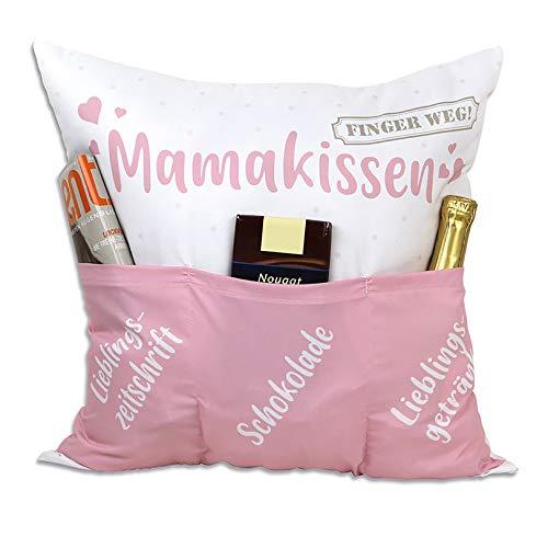 Kamaca Originelles Dekokissen Kissen mit 3 Taschen zum selber Befüllen Größe 43x43 cm tolles Geschenk für EIN gelungen Sofaabend Filmabend Öko Tex (Mamakissen)