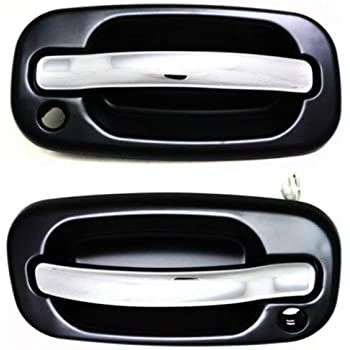 Evan-Fischer EVA1870107143241 Exterior Door Handles for Set of 2 Front Left and Right Side Plastic Smooth Black Bezel W//Chrome Lever W//Keyhole