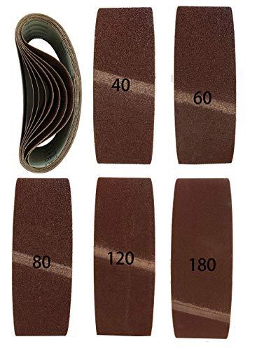 Lot de 10 bandes abrasives de qualité supérieure 75 x 533 mm - 2 x grain 40, 60, 80, 120, 180