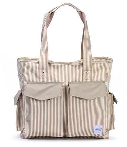 Tragetasche für Lehrer mit mehreren Taschen, Segeltuch-Streifen, Handtasche für Krankenschwestern und Fußballmütter
