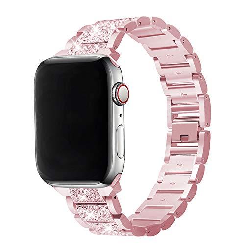 Xnhgfa Correa Compatible con iwatch Correa de Reloj Series 5 4 3 2 1 Brazalete de la Pulsera de la joyería del Vestido del Metal del Acero Inoxidable,Rose Gold,38MM/40MM